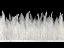 1 Yard - White Rooster Neck Saddle Hackle Feather Wholesale Trim