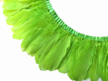 1 YARD - LIME GREEN Goose Nagoire and Satinettes Feather Trim