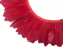 1 YARD - RED Goose Nagoire and Satinettes Feather Trim