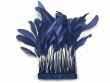 1 Yard - Navy Blue Stripped Coque Tail Feathers Wholesale (Bulk)