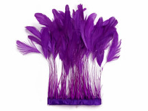1 Yard - Purple Stripped Coque Tail Feathers Wholesale (Bulk)
