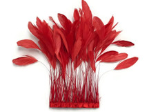 1 Yard - Red Stripped Coque Tail Feathers Wholesale (Bulk)