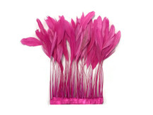 1 Yard - Hot Pink Stripped Coque Tail Feathers Wholesale (Bulk)