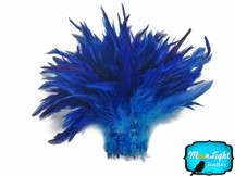 1 Yard - Blue Two Tone Bleached And Dyed Strung Rooster Schlappen Wholesale Feathers (Bulk)