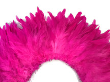 4 Inch Strip - Hot Pink Bleached And Dyed Strung Rooster Schlappen Feathers