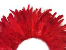 4 Inch Strip - Red Bleached And Dyed Strung Rooster Schlappen Feathers