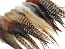 100 Pieces - Natural Medium Length Rooster Hair Extension Wholesale Feathers (Bulk)