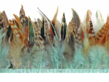 1 Yard - Aqua Blue Chinchilla Rooster Feathers Trim
