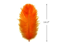 """10 Pieces - 14-17"""" Orange Ostrich Dyed Drab Body Feathers"""
