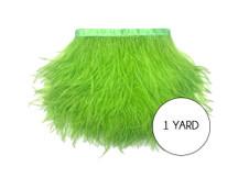 1 Yard - Lime Green Ostrich Fringe Trim Wholesale Feather (Bulk)