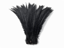 1/2 Lb  - Black Ostrich Nandu Trimmed Long Wholesale Feathers (Bulk)