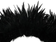4 Inch Strip - Black Strung Rooster Neck Hackle Feathers