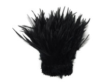 1 Yard - Black Strung Rooster Neck Hackle Wholesale Feathers (Bulk)