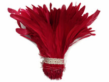 1/2 Yard -  Red Strung Natural Bleach And Dyed Coque Tails Wholesale Feathers (Bulk)