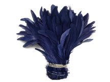 Long shiny blue rooster feathers