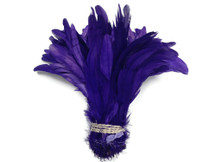 1/2 Yard -  Eggplant Strung Natural Bleach And Dyed Coque Tails Wholesale Feathers (Bulk)
