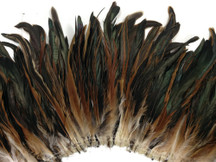 2.5  Inch Strip -  Natural Brown Half Bronze Coque Tail Strung Feathers