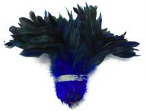 1 Yard - Navy Half Bronze Strung Rooster Schlappen Wholesale Feathers (Bulk)
