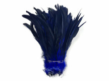 1/2 Yard - Navy Half Bronze Natural Dyed Coque Tail Strung Wholesale Feathers (Bulk)