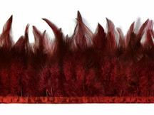1 Yard - Burgundy Rooster Neck Saddle Hackle Feather Wholesale Trim