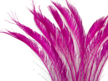 5 Pieces - HOT PINK BLEACHED Peacock Swords Cut Feathers