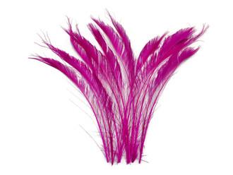 Hot Pink Bleached Peacock Swords Cut Wholesale Feathers (Bulk)