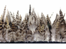 1 Yard - Natural Gray Chinchilla Rooster Feathers Trim