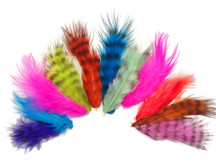 1 Pack - Colorful Mix Grizzly Rooster Fluff Wholesale Feathers 0.20 Oz. (Bulk)