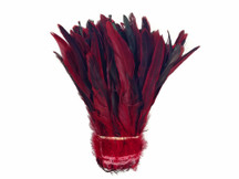 1/2 Yard - Red Half Bronze Natural Dyed Coque Tail Strung Wholesale Feathers (Bulk)