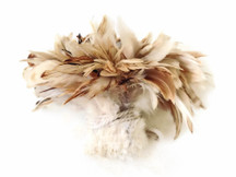 1 Yard - Natural Beige Strung Rooster Schlappen Wholesale Feathers (Bulk)