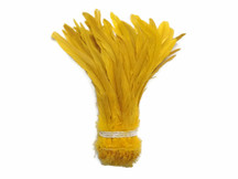 Long golden soft rooster feathers