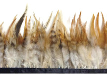 1 Yard - Natural Brown Chinchilla Rooster Feathers Trim
