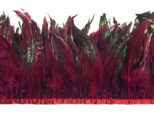 1 Yard - Burgundy Chinchilla Rooster Feathers Trim
