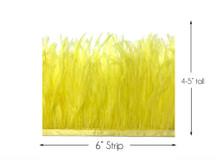 6 Inch Strip - Yellow Ostrich Fringe Trim Feather