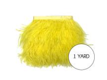 1 Yard - Yellow Ostrich Fringe Trim Wholesale Feather (Bulk)
