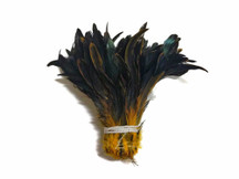 Yellow Gold Half Bronze Natural Dyed Coque Tail Strung Wholesale Feathers (Bulk)