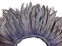 2.5  Inch Strip -  Grey Strung Natural Bleach And Dyed Coque Tails Feathers