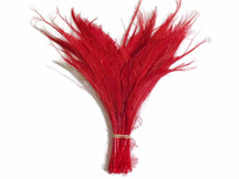 50 Pieces - Red Bleached Peacock Swords Cut Wholesale Feathers (Bulk)
