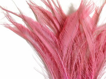 5 Pieces - Baby Pink Bleached Peacock Swords Cut Feathers