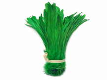 1/2 Yard - Green Strung Natural Bleach And Dyed Coque Tails Wholesale Feathers (Bulk)