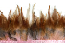 1 yard - DYED BABY Pink and Red Rooster Saddle Feathers Trim
