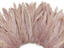 2.5  Inch Strip -  Taupe Strung Natural Bleach And Dyed Coque Tails Feathers