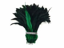 Fluffy dark green and black dyed fluffy rooster feathers