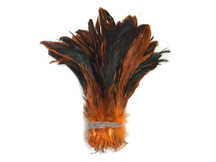 Bright Orange Iridescent Shiny Fluffy Strip of rooster feathers