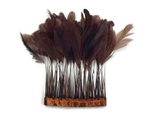 Dark Brown eyelash trim rooster tail feathers