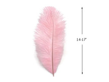 "10 Pieces - 14-17"" Baby Pink Ostrich Dyed Drab Body Feathers"