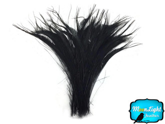 5 Pieces - Black Bleached Peacock Swords Cut Feathers