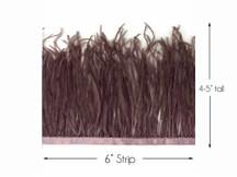 6 Inch Strip - Mocha Ostrich Fringe Trim Feather