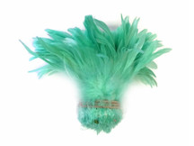 Light mint short strip of feathers for sewing, costumes, and decoration.