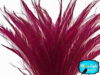 50 Pieces - Burgundy Bleached Peacock Swords Cut Wholesale Feathers (Bulk)